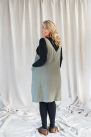 Our Model is wearing the Crossback Tunic - Sage by Matta Clothing Australia.