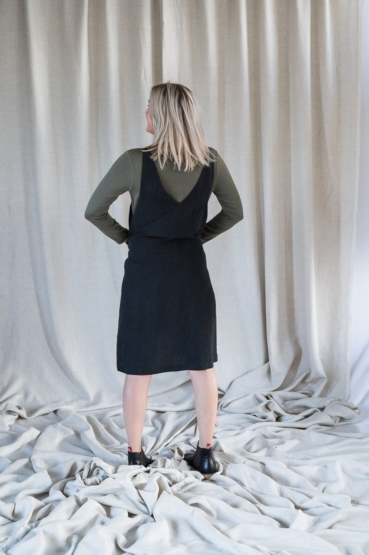 Our Model is wearing the Crossback Tunic - Washed Black by Matta Clothing Australia.