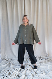 Our Model is wearing the Mona Pants - Washed Black by Matta Clothing Australia.