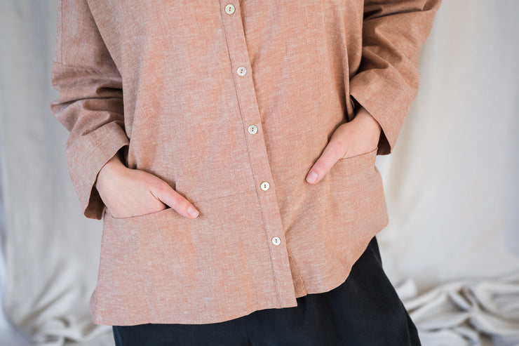 Our Model is wearing the Artist Shirt - Washed Copper by Matta Clothing Australia.