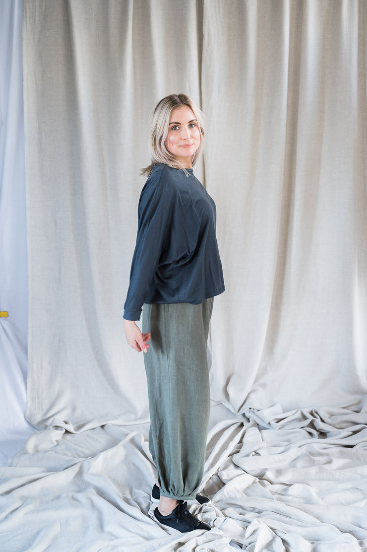 Our Model is wearing the Batwing Merino - Blue/Grey by Matta Clothing Australia.