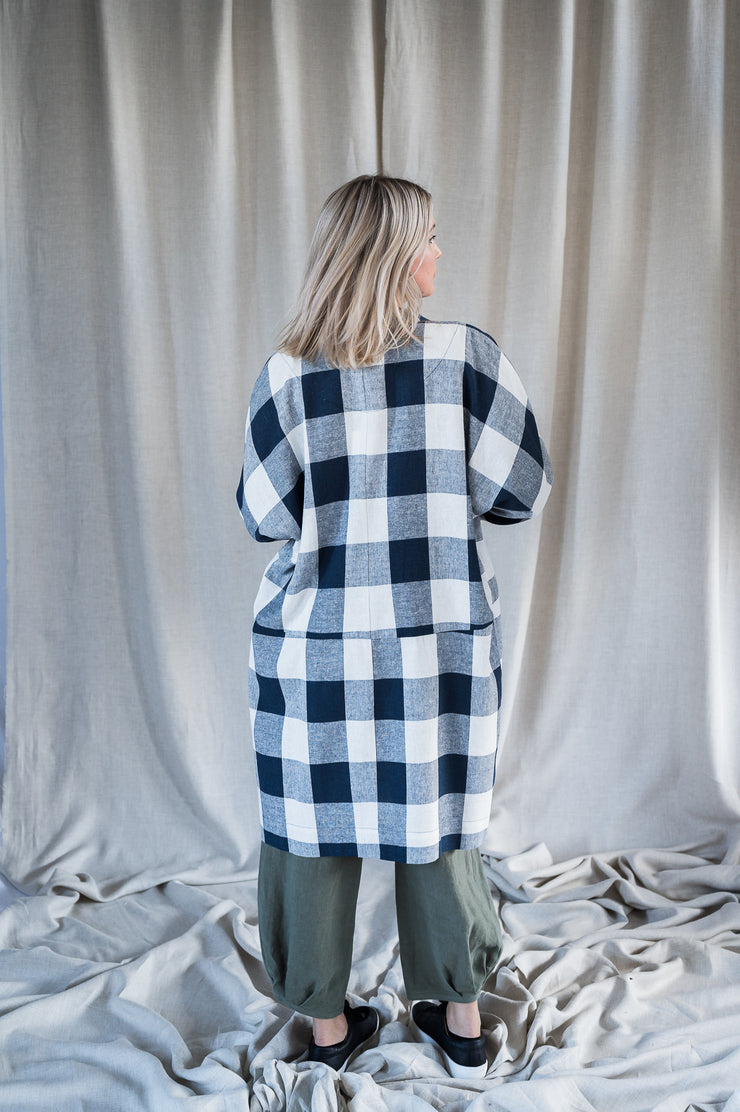 Our Model is wearing the Mabel Linen Jacket - Navy Gingham by Matta Clothing Australia.