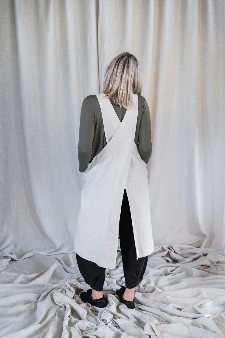 Our Model is wearing the Linen Apron - Oatmeal by Matta Clothing Australia.