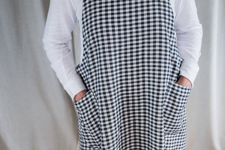 Our Model is wearing the Linen Apron - Navy gingham by Matta Clothing Australia.