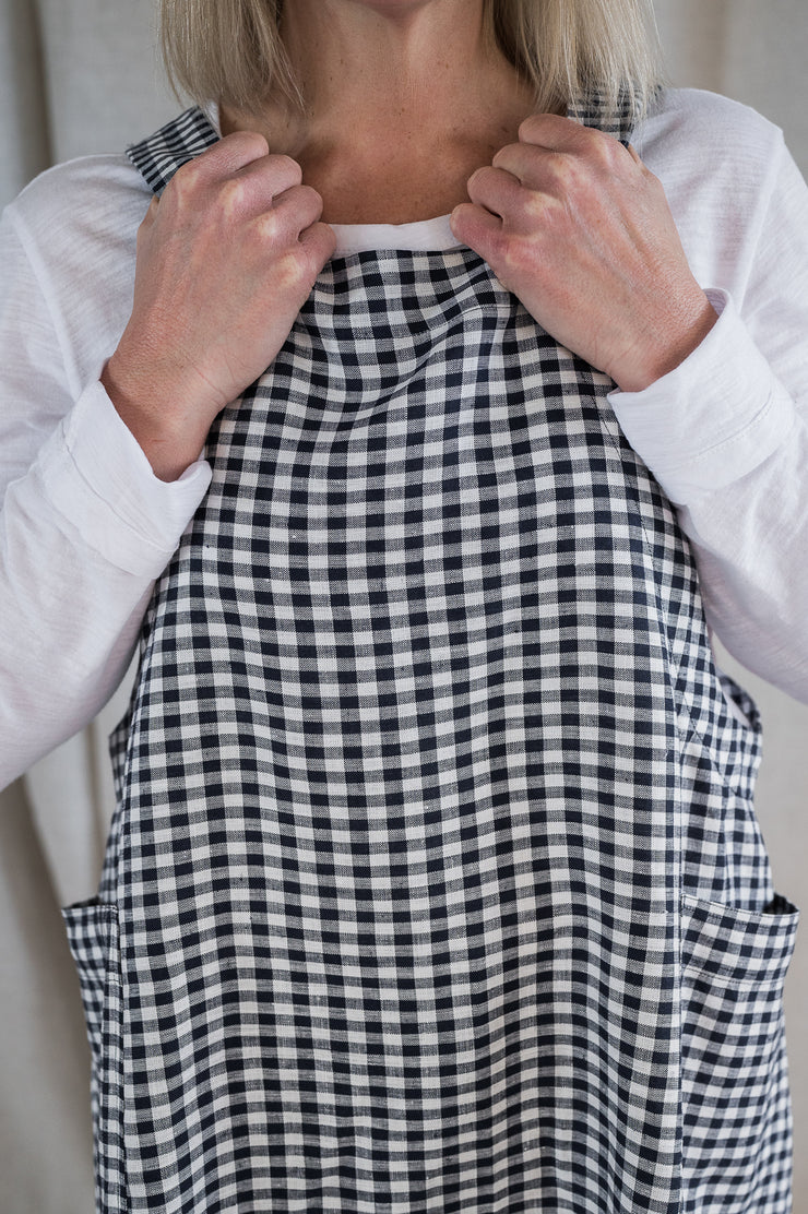 Linen Apron - Navy gingham - Matta Clothing
