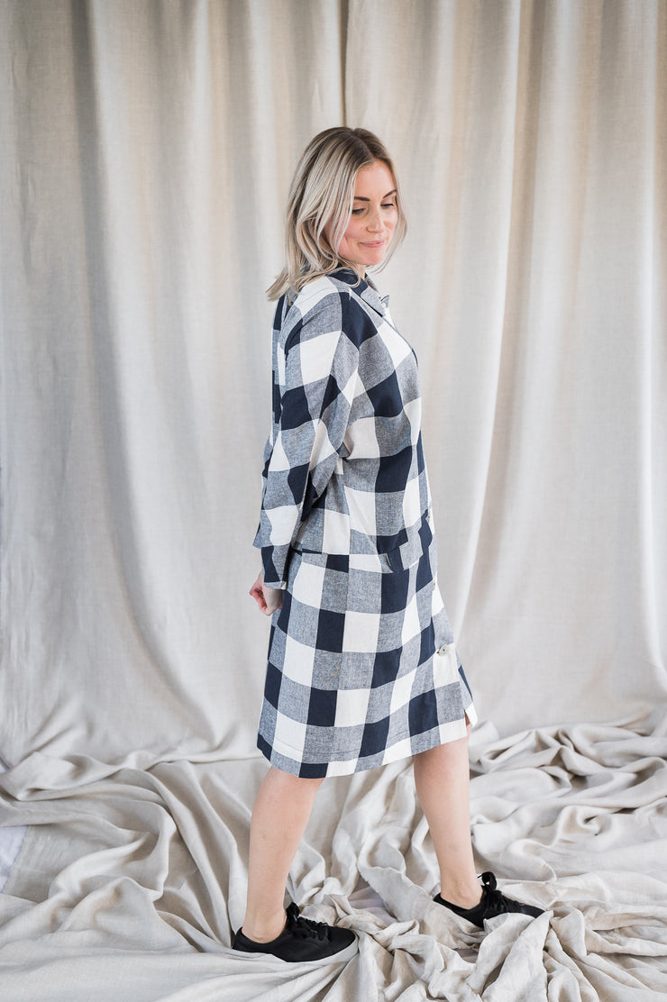 Mabel Linen Jacket - Navy Gingham - Matta Clothing