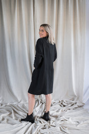 Our Model is wearing the Mabel Linen Jacket - Washed Black by Matta Clothing Australia.