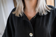 Mabel Linen Jacket - Washed Black - Matta Clothing