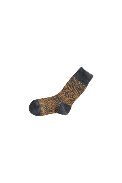 Oslo Wool Jacquard Socks// Navy/Amber - Matta Clothing