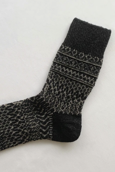 Oslo Wool Jacquard Socks// Charcoal - Matta Clothing