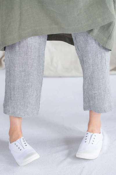 Meadow Pants - Grey Marle Stripe - Matta Clothing