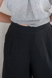 Our Model is wearing the Cedar Culotte - Washed Black by Matta Clothing Australia.