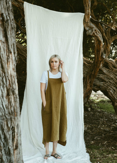 Sunday Dress - Antique Washed Linen in Olive