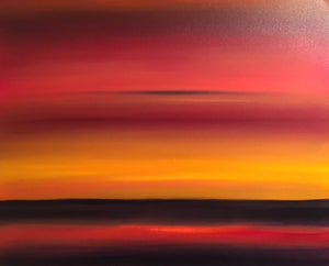 """Crimson Sunset"" Oil on Canvas"
