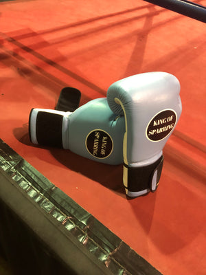 King of Sparring 16 oz. blue lace up boxing sparring gloves