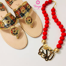 "Load image into Gallery viewer, tanya-sopretty - Red & Gold Mirror Script Monogram Bauble Necklace 3"" - Necklace"