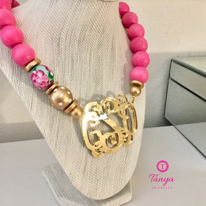 "tanya-sopretty - Pink & Gold Mirror Script Monogram Floral Bauble Necklace 3"" - Necklace"