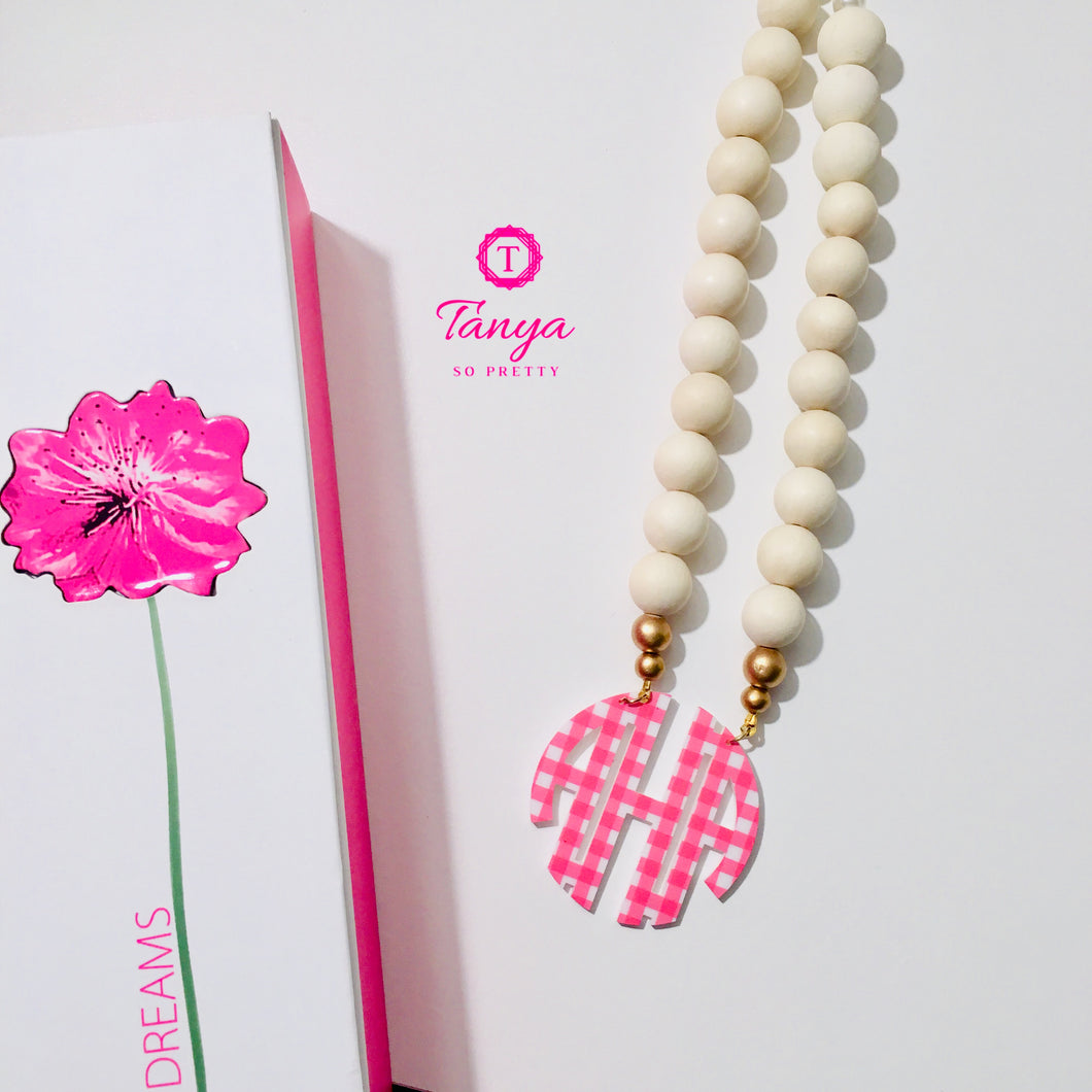 Pink Gingham & Natural Wood Block Monogram Necklace 2.5