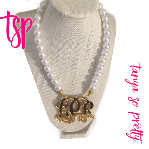 "tanya-sopretty - Gold & Pearls Script Monogram Necklace 2.5"" - Necklace"