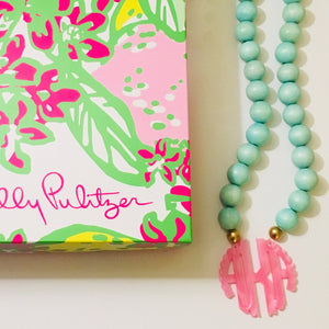 Pink & Green Pearlized Scallop Block Letter Monogram Bauble Necklace 3""