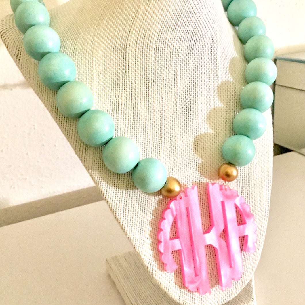 Pink & Green Pearlized Scallop Block Letter Monogram Bauble Necklace 3