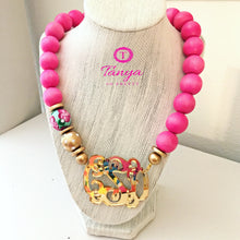 "Load image into Gallery viewer, tanya-sopretty - Pink & Gold Mirror Script Monogram Floral Bauble Necklace 3"" - Necklace"
