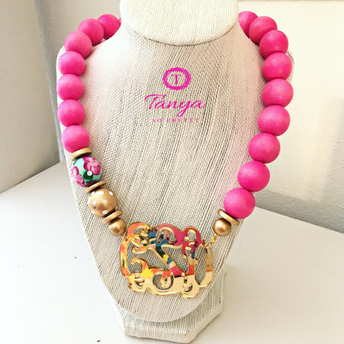tanya-sopretty - Pink & Gold Mirror Script Monogram Floral Bauble Necklace 3