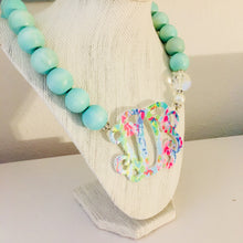 "Load image into Gallery viewer, tanya-sopretty - Seafoam Floral Acrylic Script Monogram Necklace 3"" - Necklace"