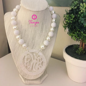 Ivory Pearlized Scallop Script Monogram Necklace 2.5""