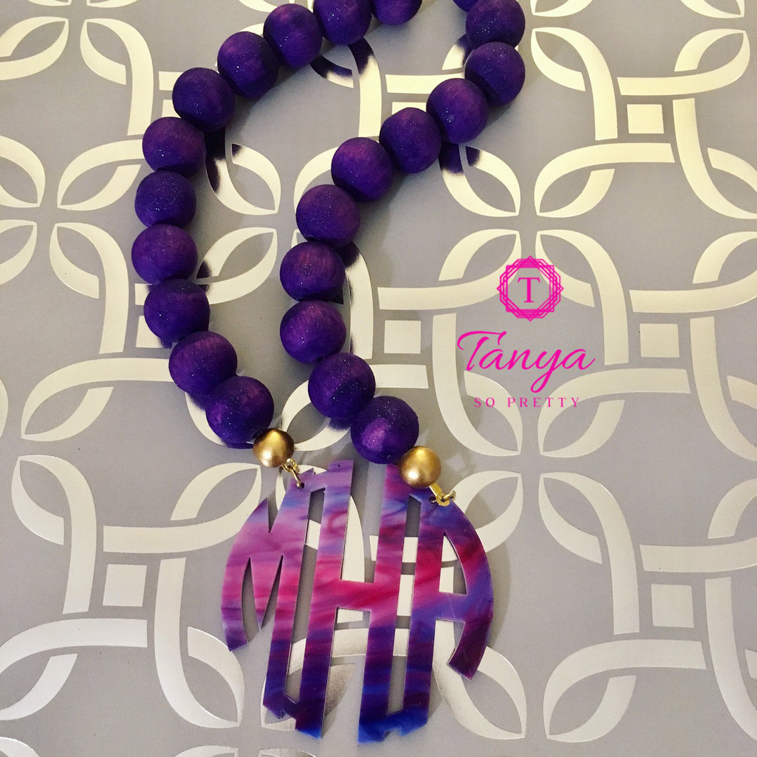 Purple Ombre Block Letter Monogram Bauble Necklace 2.5