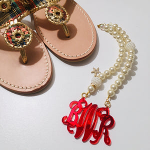 tanya-sopretty - Red Mirror Script Monogrammed Pearl Necklace - Necklace