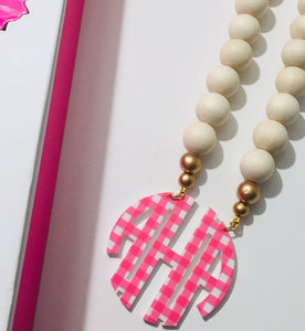 Pink Gingham & Natural Wood Block Monogram Necklace 2.5""