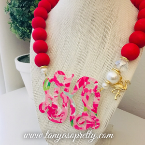 Your Custom Preppy Monogram Necklace Gift Ideas 3.8""
