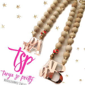 Rose Gold Stacked Monogram Floral Necklace 2.5""