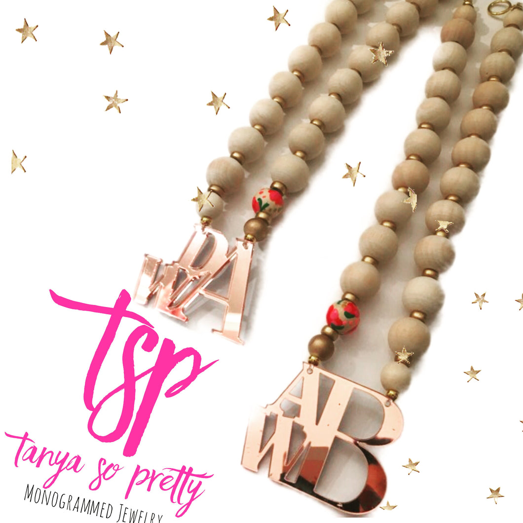 Rose Gold Stacked Monogram Floral Necklace 2.5