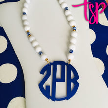 "Load image into Gallery viewer, tanya-sopretty - Royal Navy Striped Monogram Necklace 3"" - Necklace"