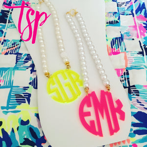 "tanya-sopretty - Neon Coral Block Monogram Necklace 3"" - Necklace"