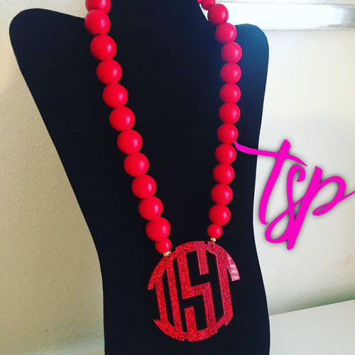 Red Sparkle Monogram Necklace 3