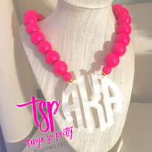 Load image into Gallery viewer, Pink & White Block Monogram Necklace 2.5""