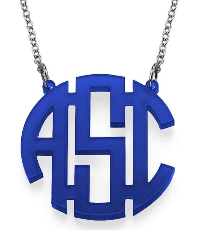 tanya-sopretty - Royal Blue Block Monogram Necklace - Necklace