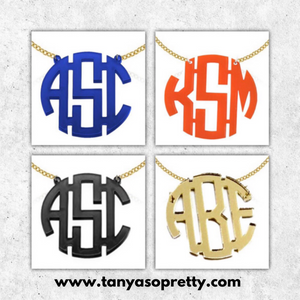 Kammy Royal Blue Block Monogram Necklace