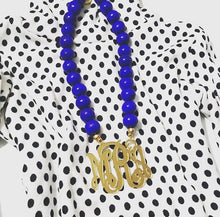 Load image into Gallery viewer, Royal Blue & Gold Mirror Script Monogram Necklace 3""