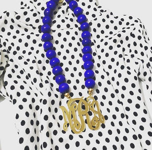 Royal Blue & Gold Mirror Script Monogram Necklace 3""