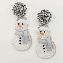 Load image into Gallery viewer, Pom Pom Snowman Earrings