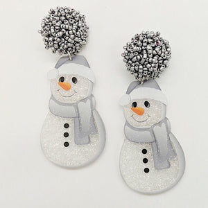 Pom Pom Snowman Earrings