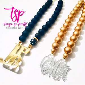 "tanya-sopretty - Navy & Gold Stacked Monogram Necklace 2.5"" - Necklace"