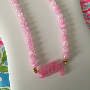 Pink Glass Full Name Necklace 2.5""