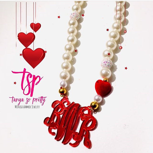 tanya-sopretty - Red Velvet Heart Monogram Pearl Necklace - Necklace