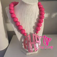 "Load image into Gallery viewer, tanya-sopretty - Pink on Pink Block Monogram Necklace 2.5"" - Necklace"