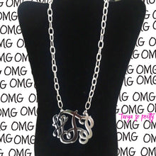 Load image into Gallery viewer, Avery Silver Chain Link Monogram Necklace 3""